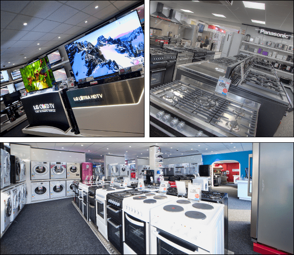 A massive selection of TVs and kitchen appliances displayed in our store